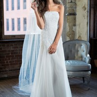 Strapless Tulle Wedding Gown with Lace Embroidery - David's Bridal