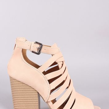 Qupid Strappy Caged Chunky Heeled Booties