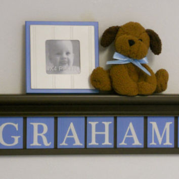 "Nautical Sailboat Nursery Decor Sign 30"" Chocolate Brown Shelf - 8 Wood Wall Letters Painted Baby Blue GRAHAM with Boats"