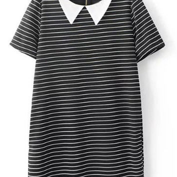 Short Sleeve Zipper Back Pinstripe Double Pockets Shift Dress