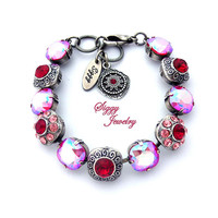 Swarovski® Crystal Bracelet, Ruby Red, Siam Shimmer, Cushion Cut, Flower Embellished, Antique Silver Finish, Belarina Blooms, Gift Packaged