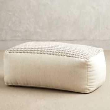 Grand Knitted Pouf by Anthropologie Light Grey One Size House & Home