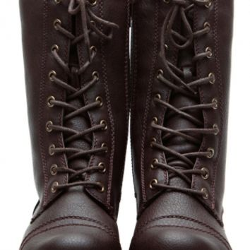 Brown Cadet Kelly Textured Lace Up Combat Boots @ Cicihot Boots Catalog:women's winter boots,leather thigh high boots,black platform knee high boots,over the knee boots,Go Go boots,cowgirl boots,gladiator boots,womens dress boots,skirt boots.