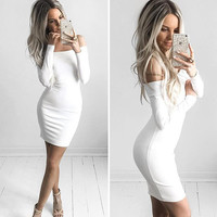 Autumn Winter Fashion Off Shoulder Long Sleeve Dress for Women Clothes 112