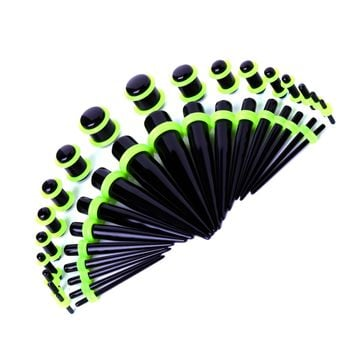 BodyJ4You Gauges Kit Black Acrylic Tapers Plugs Green 14G-00G Ear Stretching Set 36PCS
