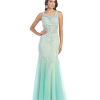 Aqua Two Toned Sheer Mermaid Lace Dress 2015 Prom Dresses
