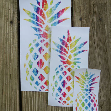 Tie Dye Pineappple Yeti Cup Vinyl Monogram Custom Hippie Car Decal