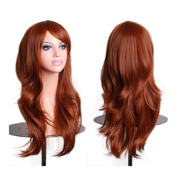 "27.5"" 70cm Long Wavy Curly Cosplay Fashion Mermaid Fantasy Wig heat resistant  brwon"