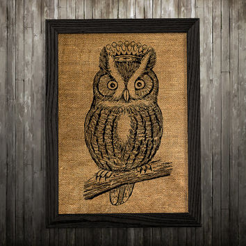 Owl poster Animal print Bird print Burlap decor BLP132