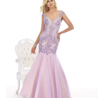 Morrell Maxie 14836 Lilac Lace Cap Sleeve Mermaid Dress 2015 Prom Dresses