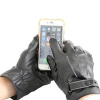 1 Pair Cool Black Men Winter Leather Motorcycle Full Finger Touch Screen Warm Wrist Gloves