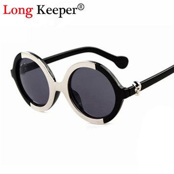 Round  Sunglasses Men SKULL Logo Glasses Women Retro