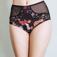 Love Me Not - Floral rose petal print underwear with black lace and sheer back - high waist panties