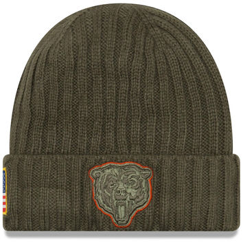 Men's Chicago Bears New Era Olive 2017 Salute To Service Cuffed Knit Hat