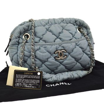 Authentic CHANEL Quilted Stripe CC Chain Shoulder Bag Blue Nylon Italy NR10693