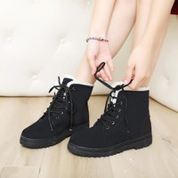Women Boots Botas Mujer Fur Snow Boots Women Ankle Boot Flat Heels Winter Shoes Warm Snow Shoes