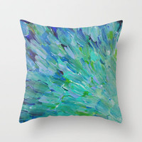 SEA SCALES - Beautiful Ocean Theme Peacock Feathers Mermaid Fins Waves Blue Teal Color Abstract Throw Pillow by EbiEmporium
