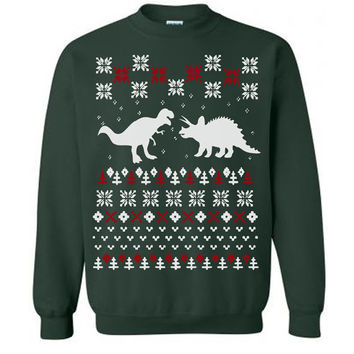 Dinosaur Ugly Sweater Flex Fleece Pullover Classic Sweatshirt - S M L XL and XXL (3 Color Options)
