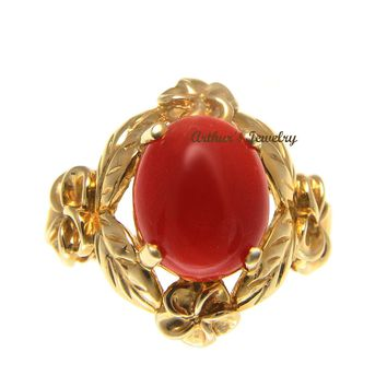 GENUINE NATURAL RED CORAL RING HAWAIIAN PLUMERIA MAILE LEAF 14K YELLOW GOLD