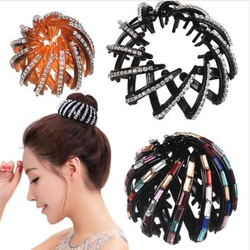 MISM New Hairpins Clip Crystal Ponytail Holder Multicolor Rhinestone Elegant Women's Hairstyles Girl Bird Nest Style Hair Claws