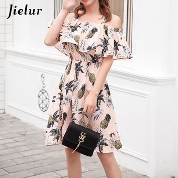 Jielur Harajuku Pineapple Off Shoulder Dress Women Fresh Summer Beach Dress Female Pink White Vestidos Verano 2018 S-L Dropship