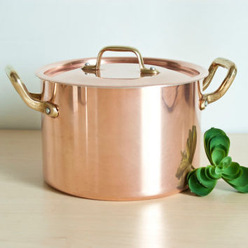 French Solid Copper Saucepan with Brass Handles, Small Double Handled Soup Pot with Lid