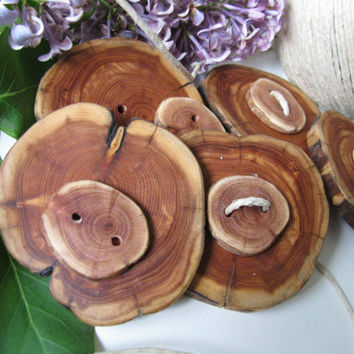 Five wood stacked button sets made of juniper wood. Scarves, cowls or just about any fibre art project.
