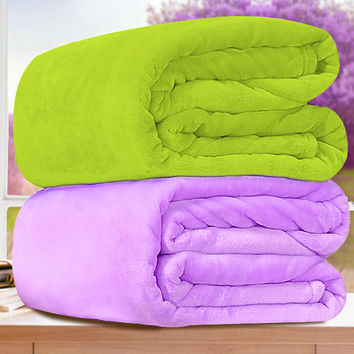 Solid Color Double Faced Flannel Blanket