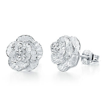 Sterling-silver-jewelry Earing Brincos Pendientes Mujer Earrings 925 Plata Flowers Ear Stud Earring For Women Boucle D'oreille -0330