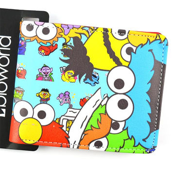 Sesame Street Elmo Oscar The Grouch Cookie Monster Bifold Wallet