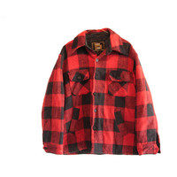 Vintage CPO Lumberjack Flannel Jacket Thick Red and Black Manor House 70's Flannel Coat