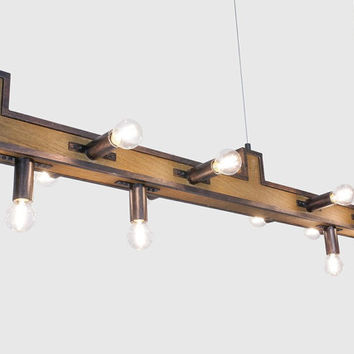 Lamp wooden beam rustic brass candles fittings patinated