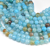 aqua blue cracked agate beads - blue agate beads - faceted round beads - blue gemstone  gemstone bead - gemstone faceted beads - 15inch