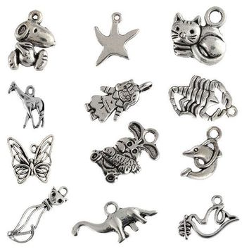 ESBONHS Tibetan silver beads charms Scorpion rabbit Dove Dolphin Cat pendants fit bracelets DIY jewelry making 10pcs