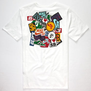 Nike Sb Sticker Mens T-Shirt White  In Sizes