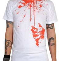 Rock Steady CHOP SUI Bloody Hand Print Mens Short Sleeve Halloween T Shirt In White and Red