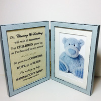 Baby room photo frame, Nursery decor, newborn photo frame, vintage style double frame, 6x4 frame, baby shower, new mother gift