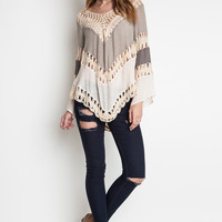 Multi Colored Crochet Top - Taupe