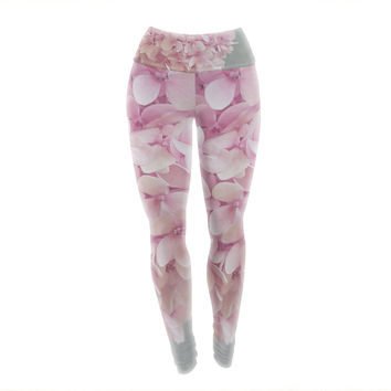 """Suzanne Harford """"Pastel Pink Hydrangea Flowers"""" Pink Floral Yoga Leggings"""