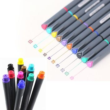 Hot Sale 10 Pcs/Set 0.38mm Watercolor Fine Line Pen Drawing Painting Pencil Tool Brushes Art Supplies