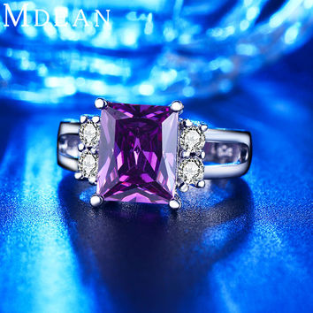 MDEAN white gold plated Purple Amethyst Jewelry CZ Diamond Wedding Rings For Women Engagement Bague Bijoux Accessories MSR202
