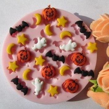 Hallowmas star moon bat pumpkin fondant molds,silicone mold soap,candle moulds,sugar craft tools,chocolate mould,bakeware F041