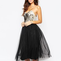 Little Mistress Sequin Bandeau Dress With Tulle Prom Skirt