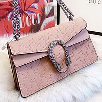 GUCCI New fashion more letter leather chain shoulder bag crossbody bag Apricot