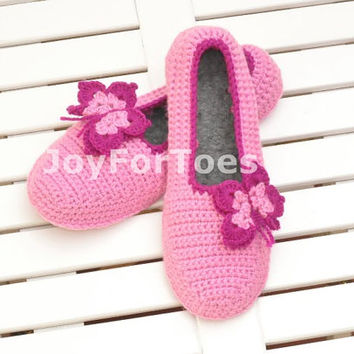 Crochet Slippers Rose Pink Butterfly Custom made Gift for her