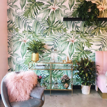 Light Banana Leaves Removable Wallpaper, Banana leaf, Watercolor wall mural – Peel and Stick, Monstera leaf - foliage, Tropical #22