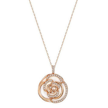 Swarovski Crystal Rose Flower Pendant Necklace ENDEARING Small Rose Gold #5187542