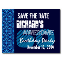 60th Birthday Save the Date Blue Pattern Post Card