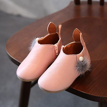 Mini Booties Zippered With Fauxe Fur