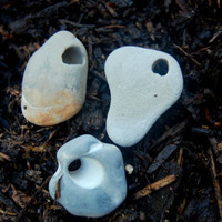 Set of 3 Hag Stones Witch Witches  Magic Fairy Stones Holey Stones